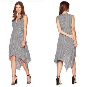 Bardot Wrap Plaid Asymmetrical Dress